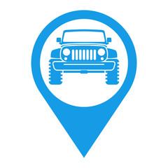 Icono plano localizacion todoterreno frontal azul