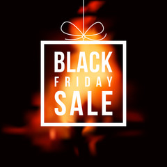 Black Friday hot sale on blurred background of fire. Vector illustration