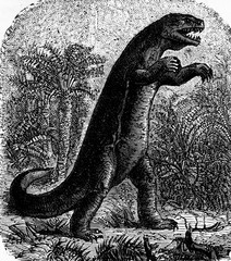 Dinosaur, vintage engraving.