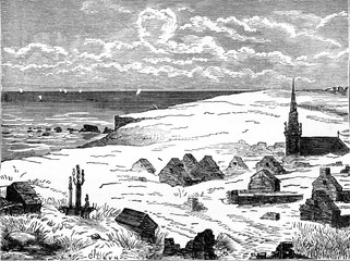 Village buried under the dunes, vintage engraving.