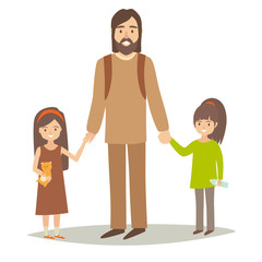 Single father with two young daughter. Little sisters and father. Cartoon character people. Flat style vector illustration isolated on white background