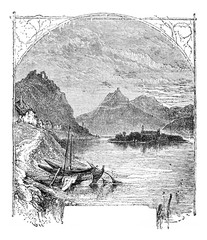 Mountain Rolandseck and Island Nonnenwerth, vintage engraving.