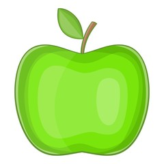 Big green apple icon. Cartoon illustration of apple vector icon for web design