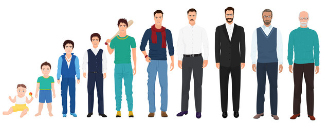 Different age generations of the men male person. Man age from kid to old collection.