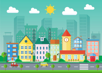 Vector Urban landscape flat illustration. Village buildings and skyscrapers. Cityscape landscape.