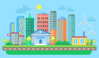 Urban and village landscape with buildings and skyscrapers. Cityscape vector illustration.