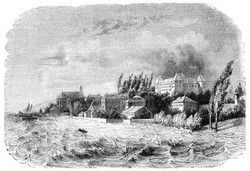 View of Coppet, on Lake Geneva, vintage engraving.