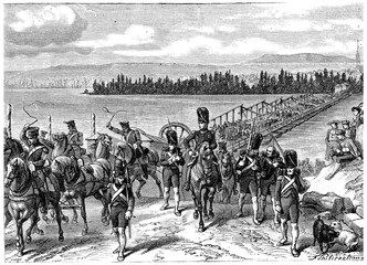 Crossing of the Rhine by the French army, vintage engraving.