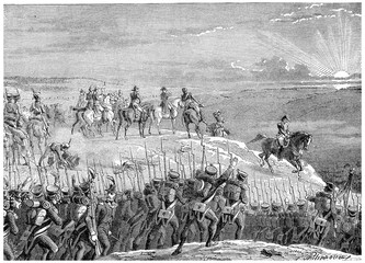 Battle of Austerlitz, vintage engraving.