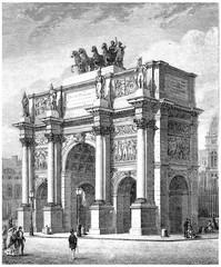 Arc de Triomphe du Carrousel, vintage engraving.