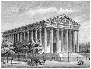 The Temple of Glory (Madeleine Church), vintage engraving.