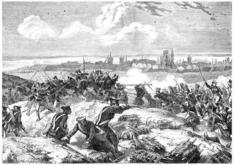 Siege of Danzig, vintage engraving.