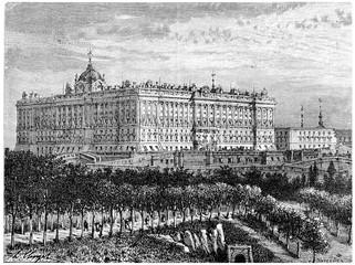 Madrid, Royal Palace, vintage engraving.