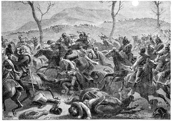Battle of Eckmuhl, vintage engraving.