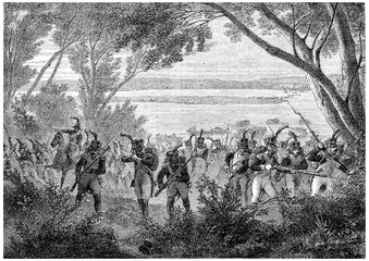 Attack and capture of the island of Lobau, vintage engraving.
