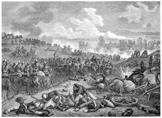 Battle of Leipzig, the first day, vintage engraving.
