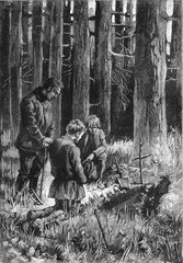 A burial in the forest.