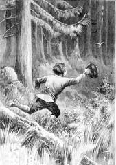 Child running after a bird in the forest.