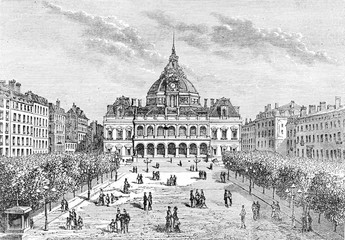 The city hall of Saint-Étienne, vintage engraving.