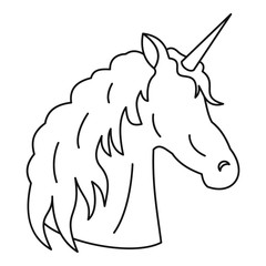 Unicorn icon. Outline illustration of unicorn vector icon for web