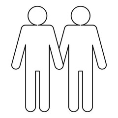 Two men gay icon. Outline illustration of two men gay vector icon for web