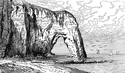 The breakthrough of Etretat rock, vintage engraving.