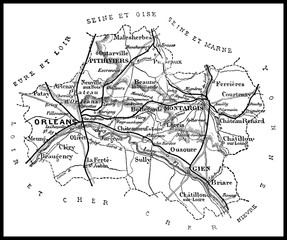 Map of the department of Loiret, vintage engraving.