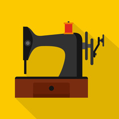 Sewing machine icon. Flat illustration of sewing machine vector icon for web