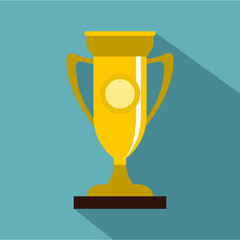 Winning cup icon. Flat illustration of winning cup vector icon for web