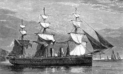Life on board. A warship, vintage engraving.