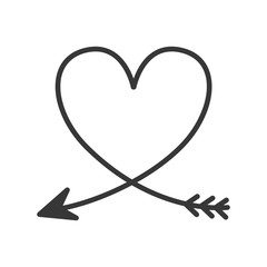 silhouette of heart with arrow vector illustration