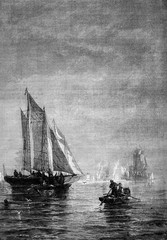 Fog in the bay of New York, vintage engraving.