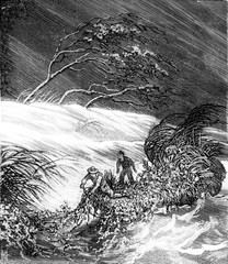 Bandits of the sea. Hurricane, vintage engraving.