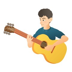 Man plays on guitar icon. Flat illustration of man plays on guitar vector icon for web