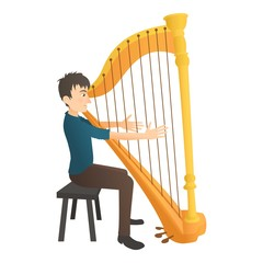 Man plays on harp icon. Flat illustration of man plays on harp vector icon for web
