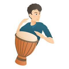 Man plays on drum icon. Flat illustration of man plays on drum vector icon for web