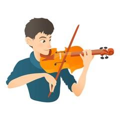 Man plays on violin icon. Flat illustration of man plays on violin vector icon for web