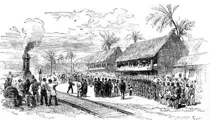 Receiving MF de Lesseps, the landing of Barranquilla, the author