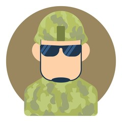 Avatar male soldier icon. Flat illustration of avatar male soldier vector icon for web