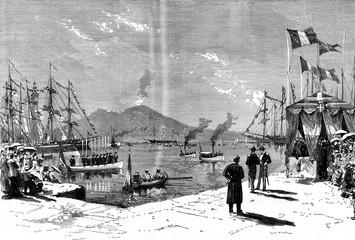 Arrival of the Swedish ship Vega in the Bay of Naples, vintage e
