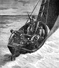 The Ship of prey. The good man was seasick, vintage engraving.