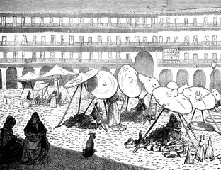 In Cordoba. View of the market, vintage engraving.
