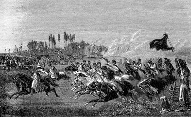 Run a Hungarian. One of them in front of his comrades in length, vintage engraving.