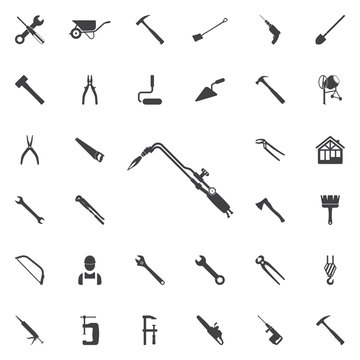 tools for cutting metal and heating products icon