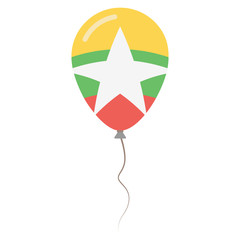 Republic of the Union of Myanmar national colors isolated balloon on white background. Independence day patriotic poster. Flat style National day vector illustration.