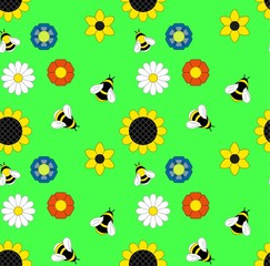 background of flowers and bumble bees