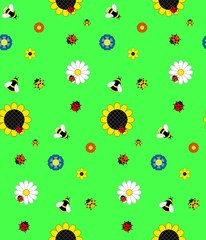Background of the five kinds of flowers, bumble bees, bees and l