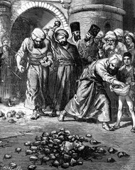 The kingdom of Khiva. The woman was buried alive. vintage engrav