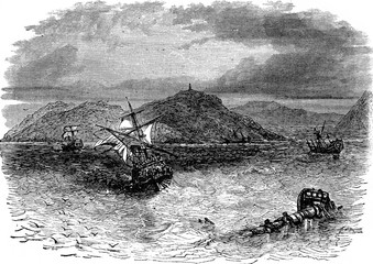 A naval battle. He took the collision three vessels, vintage eng