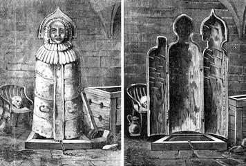 Nuremberg. The Iron Maiden of Nuremberg, vintage engraving.